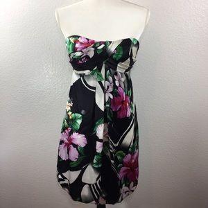 Cache 100% Silk Strapless Tropical Dress, NWT! Sz2
